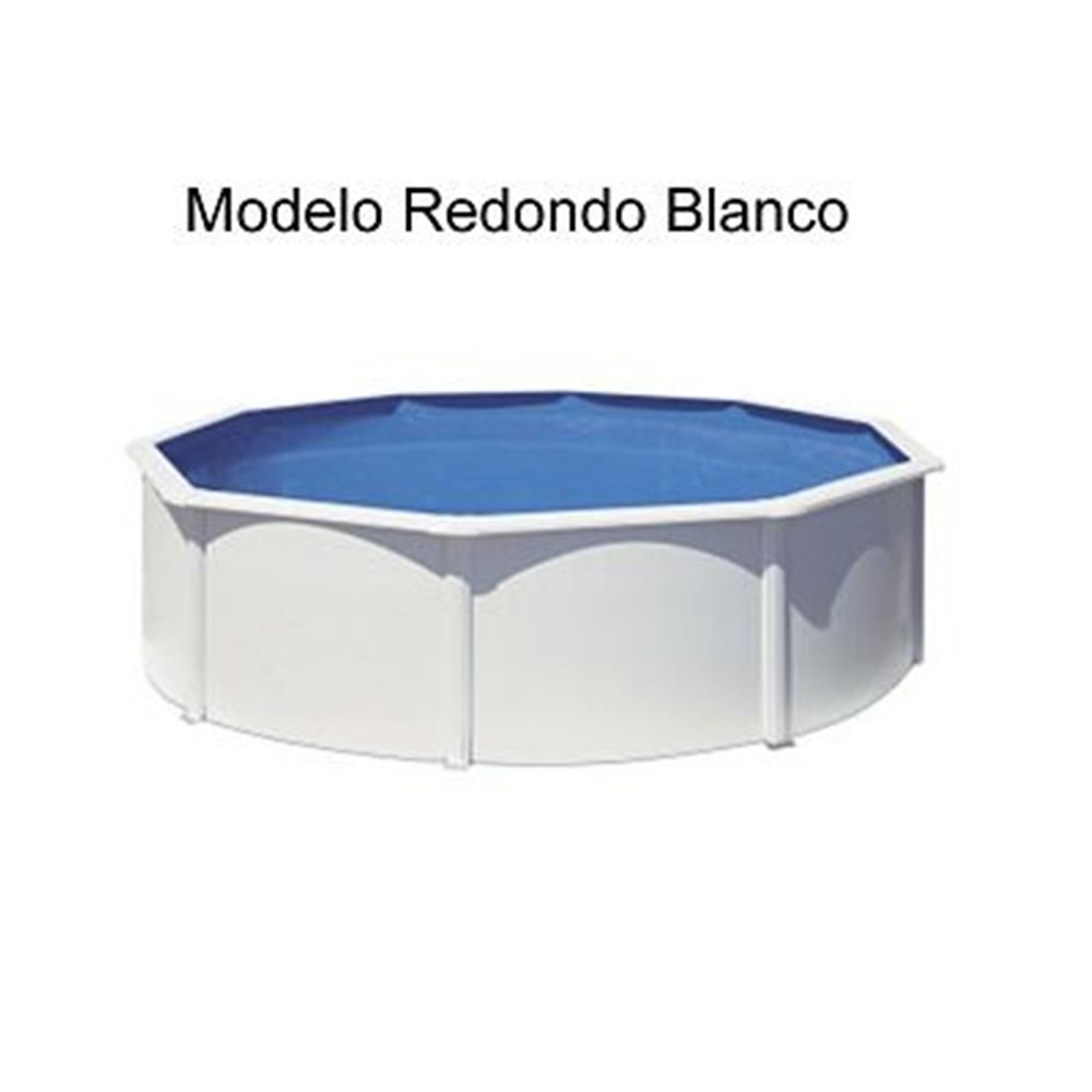 (350X120 BLANCA) SUPER OFERTA GRE -KIT ESPECIAL PISCINAS GALLEGAS CHAPA DE ACERO BLANCA REDONDA CON ACCESORIOS